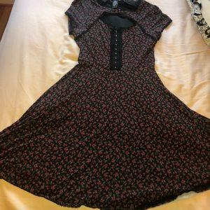 Rose patter faux corset dress